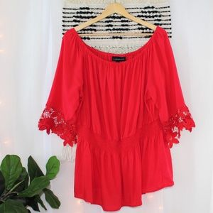Lane Bryant Crochet Sleeve Red Blouse Women's 20